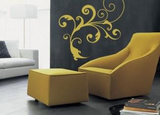 naklejka ścienna - żółty ornament