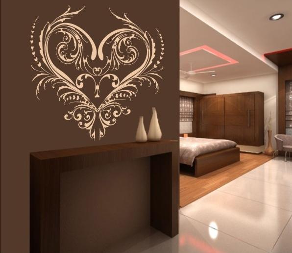 ornament serca - naklejka na ścianę