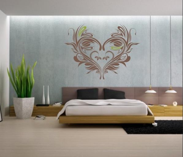 serce w sypialni - naklejki ścienne