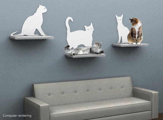 spraw swojemu kotu półkę - via therefinedfeline.com