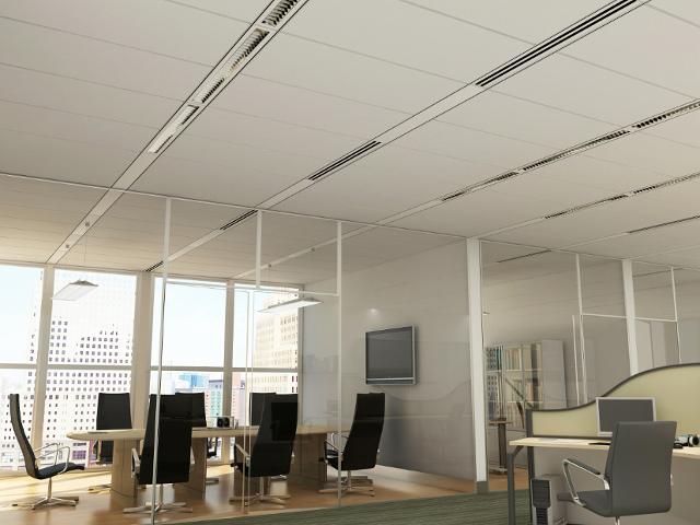 podwieszany sufit TECH ZONE świetnie sprawdzi się np. w biurze - fot. Armstrong
