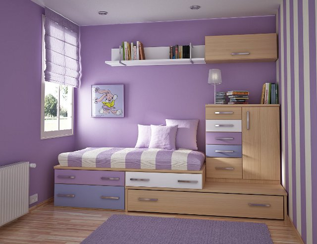 fioletowy pokój dla dzici - fot. via natural-interior-design.blogspot.com