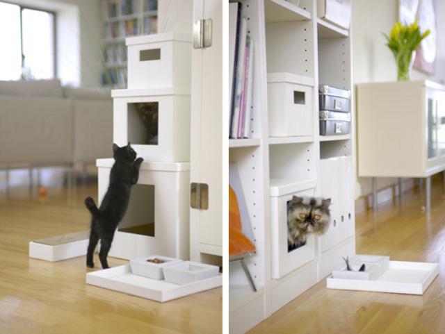 regały przystosowane dla kotów - via reeyong.com
