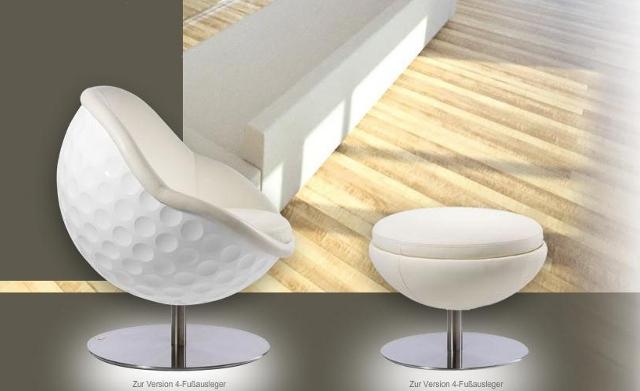 Fotel w kształcie piłeczki golfowej (model Egle od Paolo Lillus)