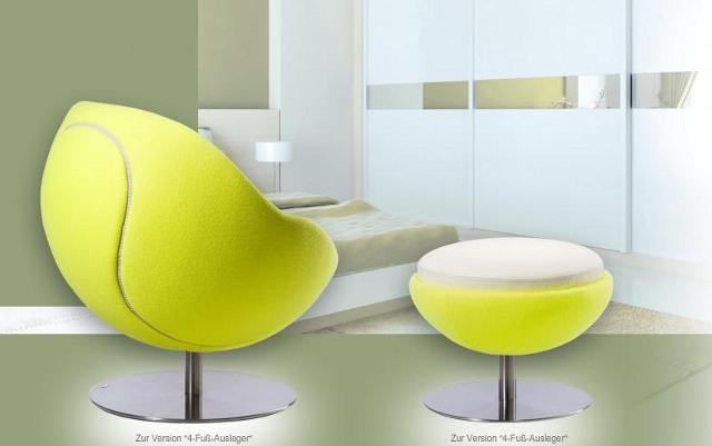 Fotel w kształcie piłki tesisowej (model Volley od Paolo Lillus)