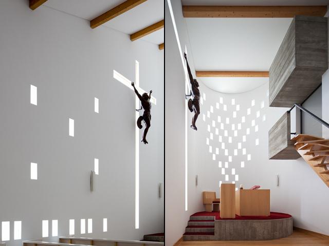 Krzyż architektoniczny - piękna metafora (Santa Ana's Chapel, e|348 arquitectura) - fot. Fernando Guerra