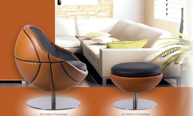 Model NBA - fotel w kształcie piłki koszytkowej od Paolo Lillus