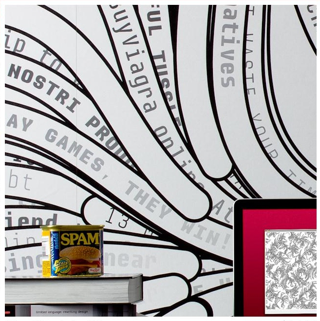 SPAM kreatywnie wykorzystany na tapecie - fot. spamghetto.com