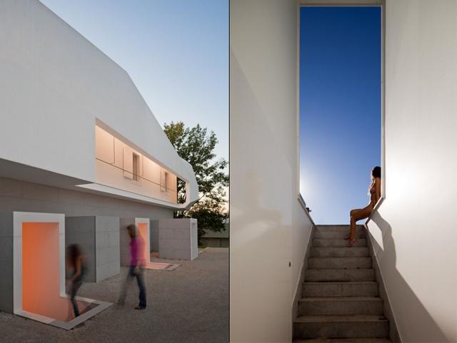 budynek z zewnątrz i idealna symetria po prawej - fot. Fernando Guerra