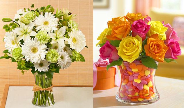 bukiet prosty i klasyczny oraz kontrastowo kolorowe kwiaty w serduszkach -flowers.com