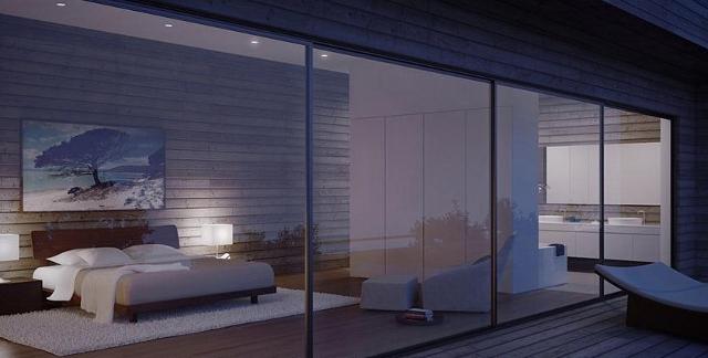 całkowicie odsłonięta sypialnia, bardzo odważny projekt od Studio Aiko