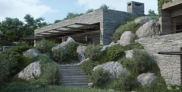 dom idealnie wtopiony w krajobraz - fot. Studio Aiko