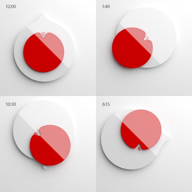 Japoński Zegar zaprojektowany przez Annę Marinenko - cztery ujęcia godzin