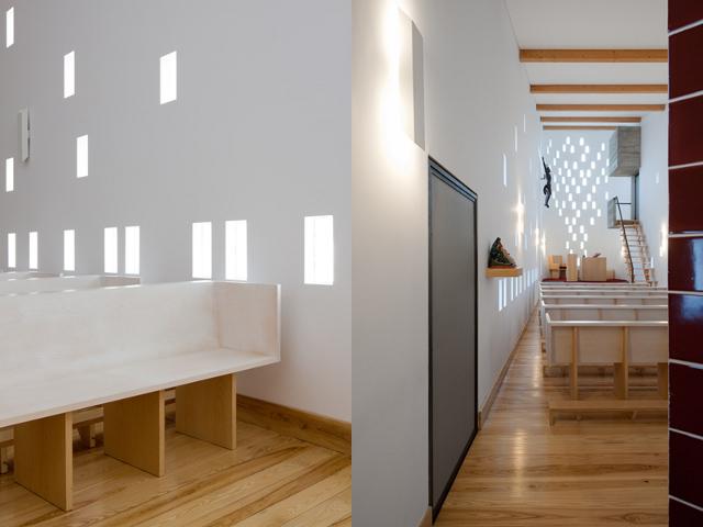 minimalistyczne ławki w kościele Santa Ana - fot. Fernando Guerra