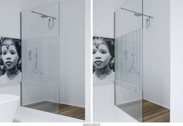 przesłona prysznicowa z motywem kodu kreskowego -fot. Antonio Lupi