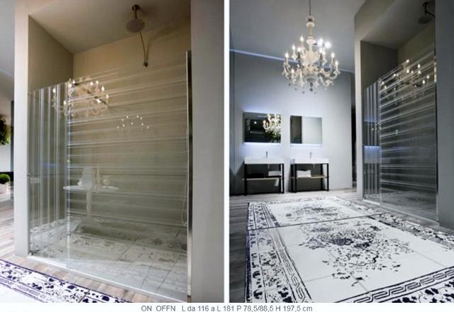 przesłony prysznicowe w paski poziome i pionowe -fot. Antonio Lupi