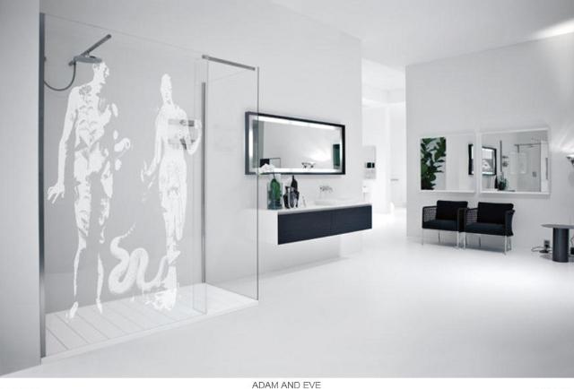 przesłony prysznicowe z bibilijnym motywem Adama i Ewy -fot. Antonio Lupi
