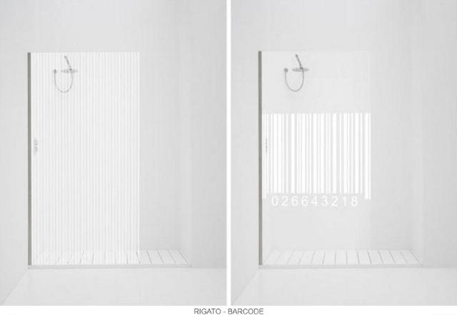 przesłony prysznicowe z motywami prążków-fot. Antonio Lupi