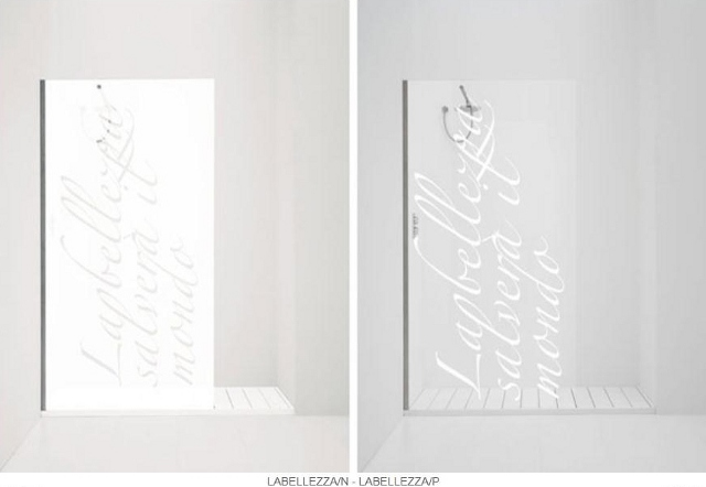 przesłony prysznicowe z motywem literowym -fot. Antonio Lupi
