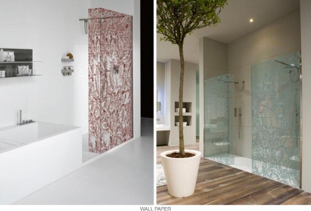 przesłony prysznicowe ze wzorem tapet -fot. Antonio Lupi