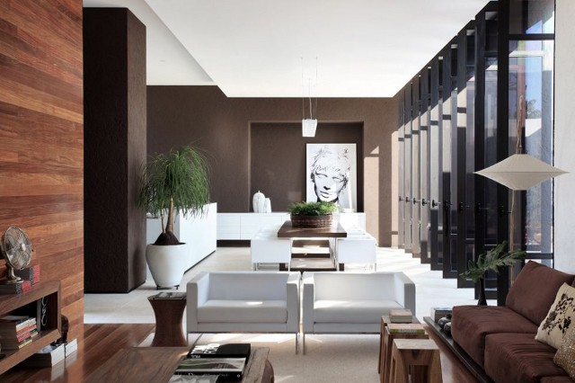 wnętrze w brązach - projekt Studio Guilherme Torres