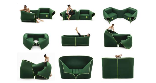 Plastyczna sofa Sosia od Campeggi w wielu ujęciach