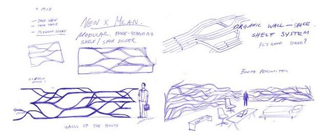 Szkice półki o nazwie Metamorfoza - projekt Sebastiana Errazuriza