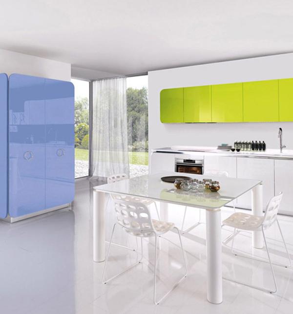 Niebiesko-zielona kuchnia IT-IS od Euromobil