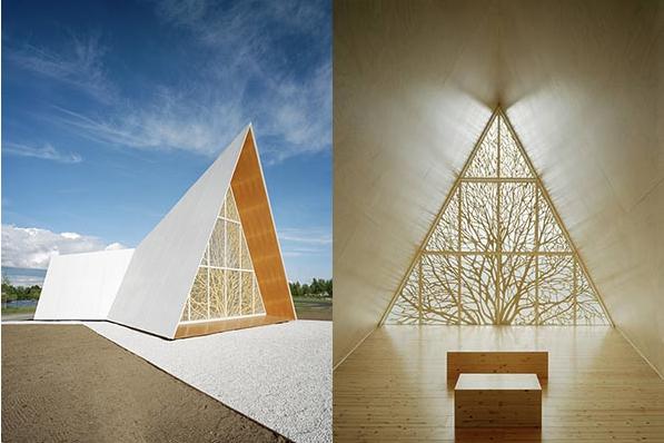 The Ecumenical Chapel od AOA Architects - elewacja i środek