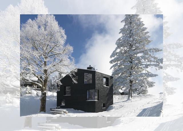 czarny domek w śniegu (Ferienhaus Girardi by Philip Lutz)