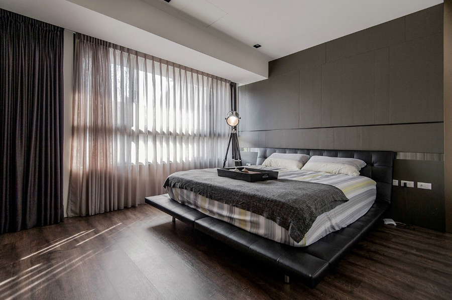 ciemna, nowoczesna, męska sypialnia