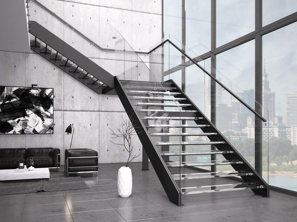 Schody Futura Duo, oparte na konstrukcji metalowej, malowanej proszkowo na kolor czarny, ze stopniami i balustradą wykonaną ze szkła.
