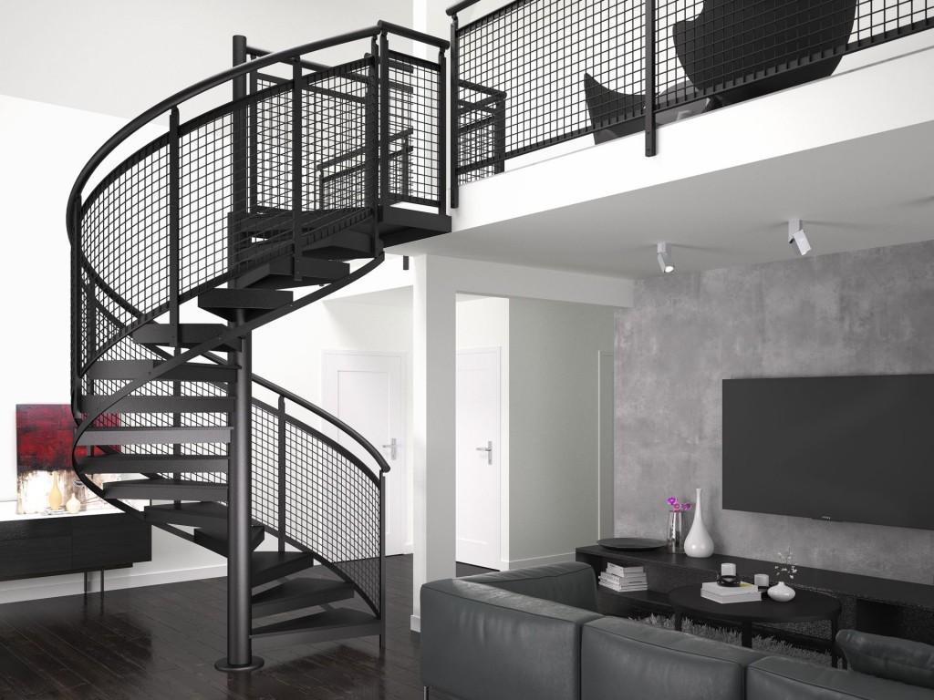 Schody Trio w czarnej kolorystyce, oparte na malowanej proszkowo konstrukcji metalowej, ze stopniami z blachy ryflowanej oraz balustradą wykonaną z siatki