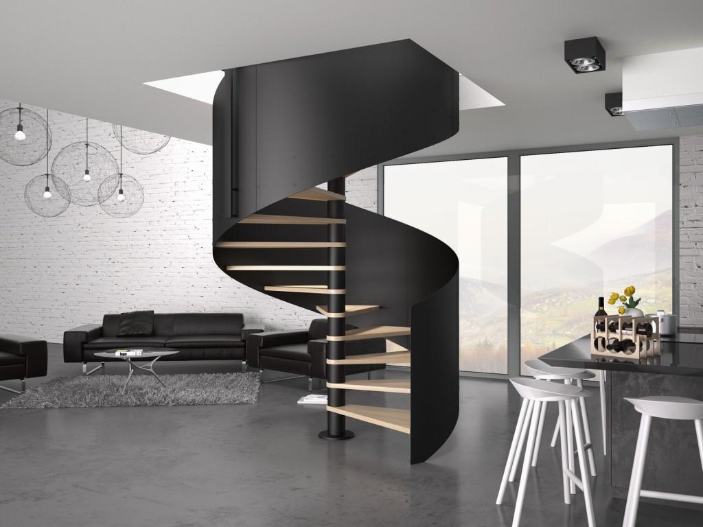 Schody Trio Bis, oparte na konstrukcji metalowej, malowanej proszkowo na kolor czarny, ze stopniami z litego dębu w kolorze natury oraz ciętą laserowo, metalową balustradą.